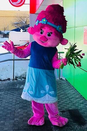 Ростовая кукла Тролли Розочка аренда и прокат
